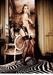Sheer Stockings with Floral Side Pattern