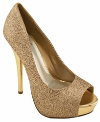 "4.15"" Sparkle Glitter Peep Toe Pumps with 1"" Front Platform"