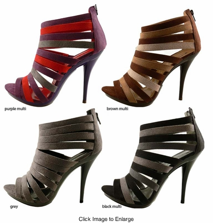 "4.5"" Strappy Shoes with 0.75"" Front Platform ""Stormy"" from Michael Antonio"