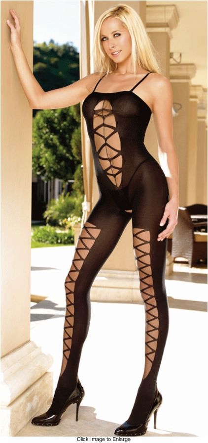 Opaque Bodystocking with Sheer Criss Cross Insets
