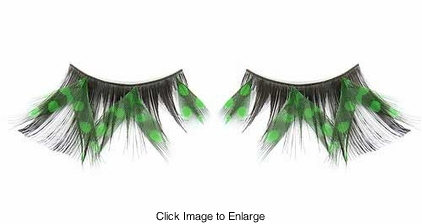 Glamorous Green Feather Lashes