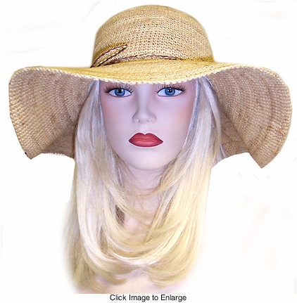 "4"" Wide Brim Raffia Straw Hat"