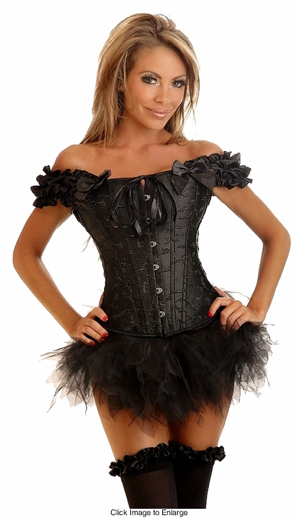 Embroidered Peasant Top Corset & Black Pettiskirt