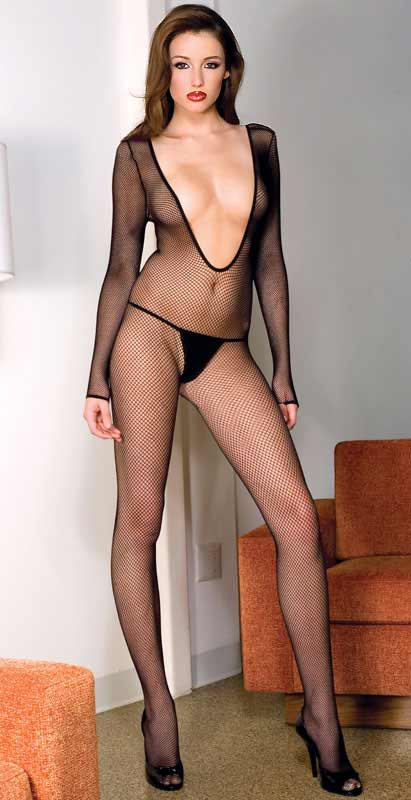 Open Front Long Sleeve Fishnet Bodystocking