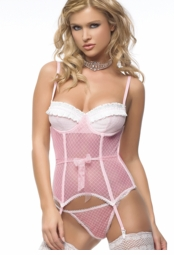 Flirty Pink Diamond Lace Bustier with G-string