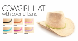 Straw Cowgirl Hat with Colorful Band
