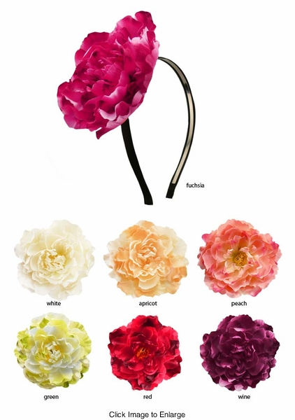 "4.5"" Wide Peony Flower Satin Headband"