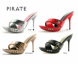 "4"" Ultra Spiked Heel Sandals with Pirate Charm Michael Antonio"