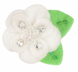 "2"" Felt and Crystal Flower Hair Clips in White"