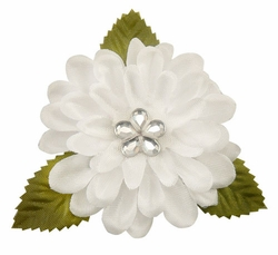 "2"" Vintage White Flower Hair Clip with Teardrop Crystal Center"