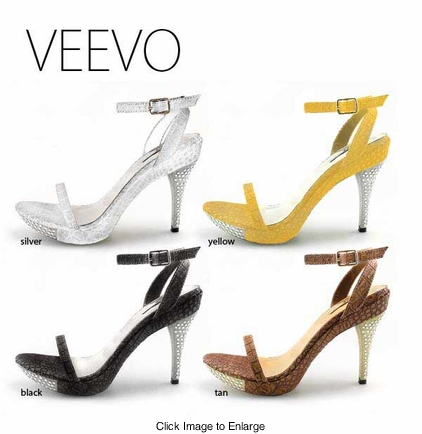 "4.15"" Faux Croc Sandals With Crystal Heel ""Veevo"" from Michael Antonio"