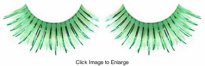 Green False Eyelashes with Green Metallic
