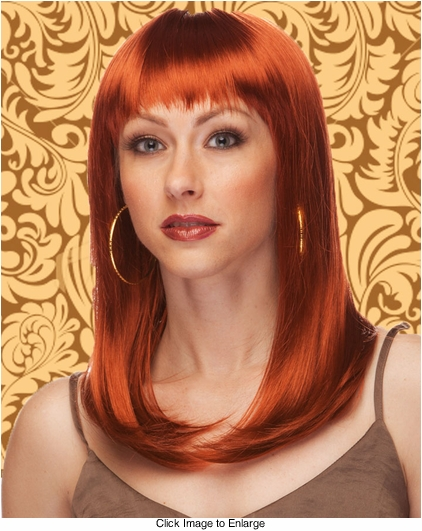 Alluring Shoulder Length Wig with Full Bangs in Auburn Red