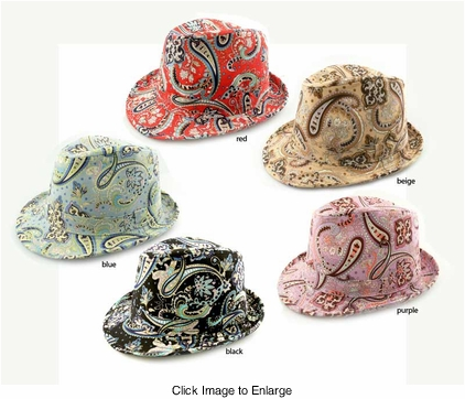 Paisley Print Cotton Fedora Hat