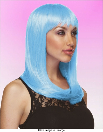 Alluring Shoulder Length Wig with Full Bangs in Light Blue