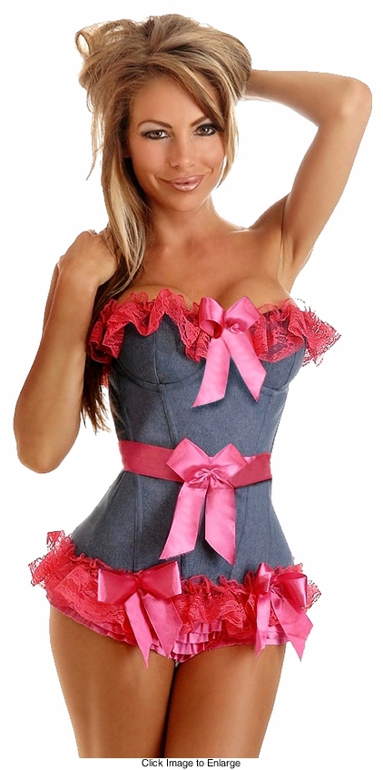 Pin-Up Denim Ruffled Corset with Pink Trims