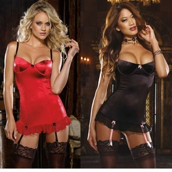 Stretch Satin Garter Dress with Sheer Back in Red or Black