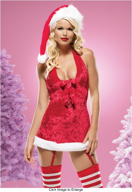 Missy Claus Crushed Velvet Mini Dress with Deep Lace Up Front