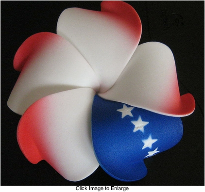 "3"" Hawaiian Flower Hairclip in Patriotic Colors"