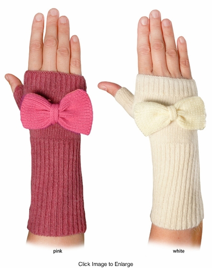 Angora Knit Arm Warmers with Detachable Bow