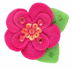 "2"" Felt and Crystal Flower Hair Clips in Fuchsia for $5.00"