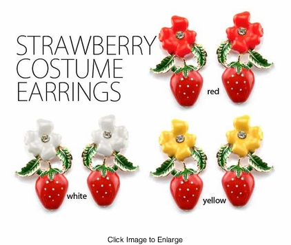 Retro Strawberry Enamel Costume Earrings