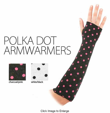 Knit Arm Warmers with Polka Dots