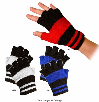 Stripe Knit Fingerless Gloves