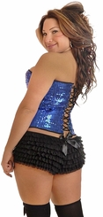 Plus Size Blue Sequin Underwire Zipper Corset