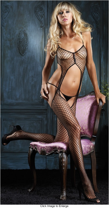 Suspender Bodystocking with Rhinestone Detail