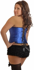 Plus Size Blue Sequin Burlesque Corset