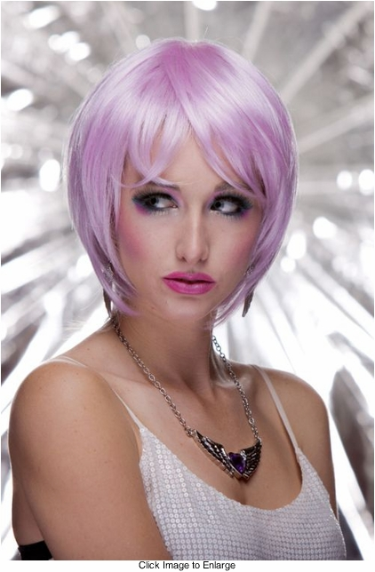 Razor Cut Bob Wig With Bangs in Lilac Purple