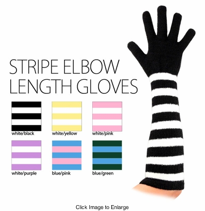 Elbow Length Chenille Stripe Gloves