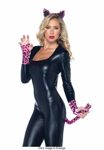 Costumes-3-Piece Neon Leopard Kit with Headband, Tail and Gloves