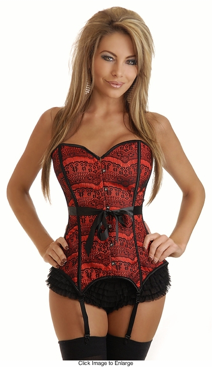 Gartered Red Lace Corset