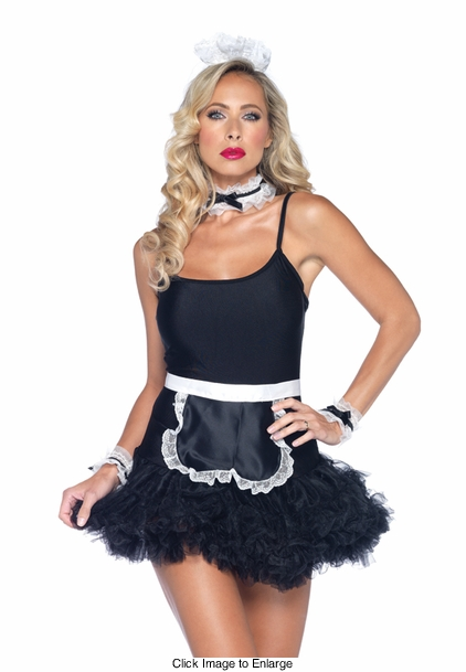 4-Piece French Maid Kit with Apron, Choker, Cuffs and Headband