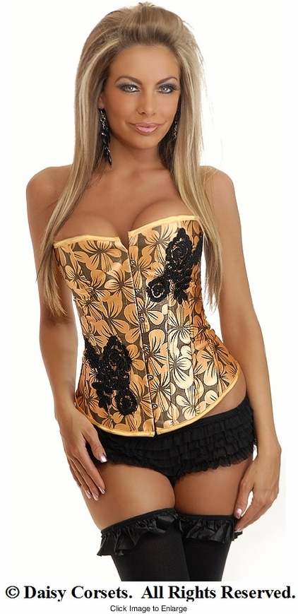 Aloha Tangerine Floral Corset and Thong