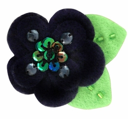 "2"" Felt and Crystal Flower Hair Clips in Black for $5.00"