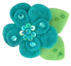 "2"" Felt and Crystal Flower Hair Clips in Turquoise for $5.00"