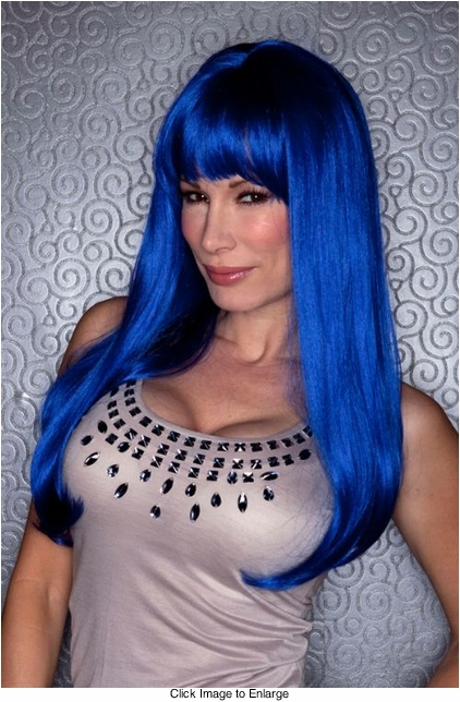 Regal Blue Straight Long Kelly Wig with Full Bangs