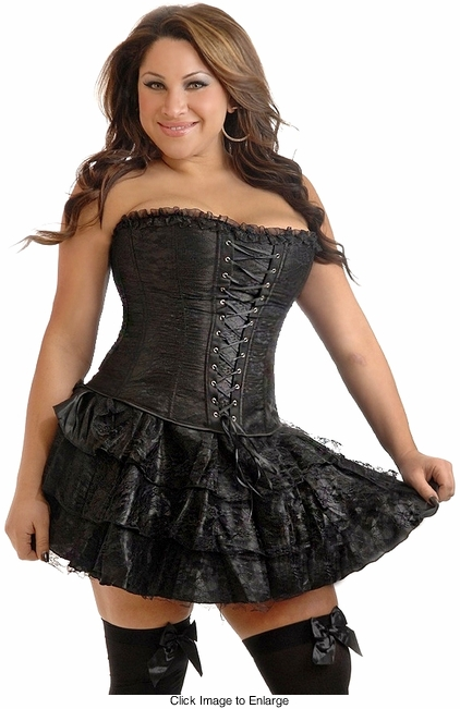 Plus Size Black Lace Corset Dress