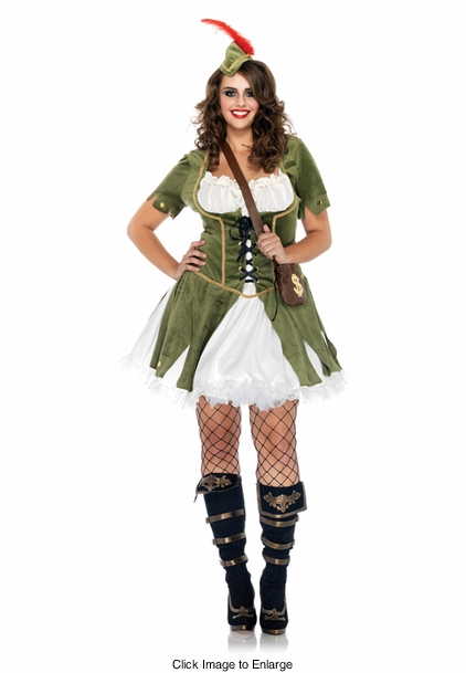 Plus Size 3-Piece Thief of Hearts Robin Hood Costume