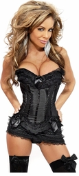 Black Corset with Lace Ruffle Trim, Skirt and Thong