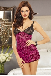 Hot Pink Leopard Mesh Dress with Thong
