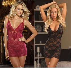 Glamour Lace Mini Dress with Thong in Raspberry and Black