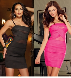 Dress with Mesh Insets and Zipper Back