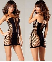 Net Mini Dress with Opaque Front Panels
