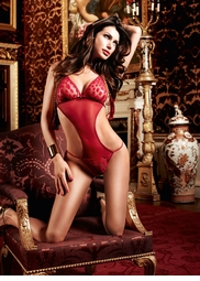 Red Polka Dot Lace and Mesh Teddy