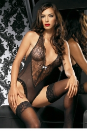 Lace and Mesh Deep Front Teddy
