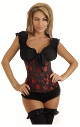 Floral Black and Red Waist Cincher